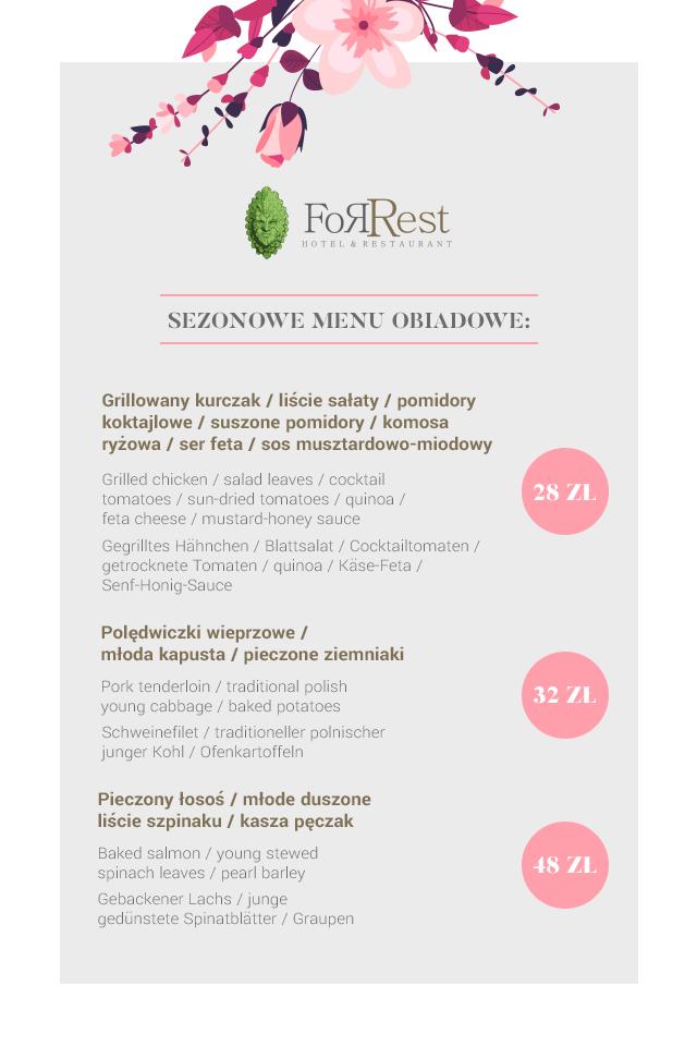 Sezonowe menu letnie Restauracja ForRest